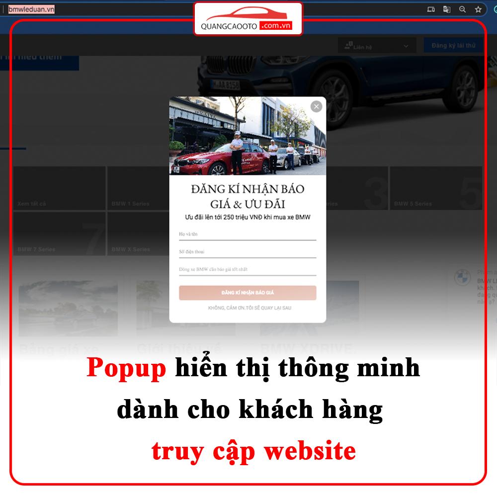 Popup hiển thị cho website ngành ô tô