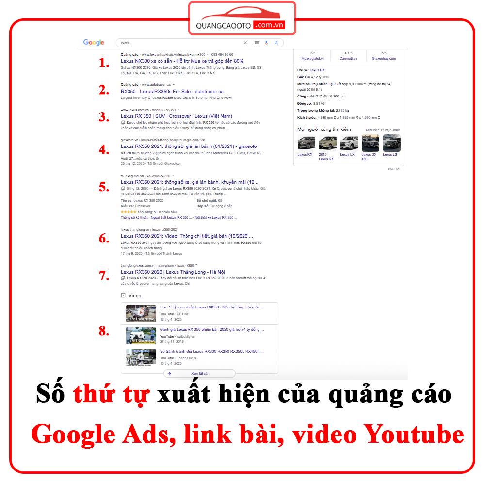 Số  thứ tự xuất hiện quảng cáo Google Ads - bí kíp quảng cáo ngành ô tô 'quang cao nganh o to'
