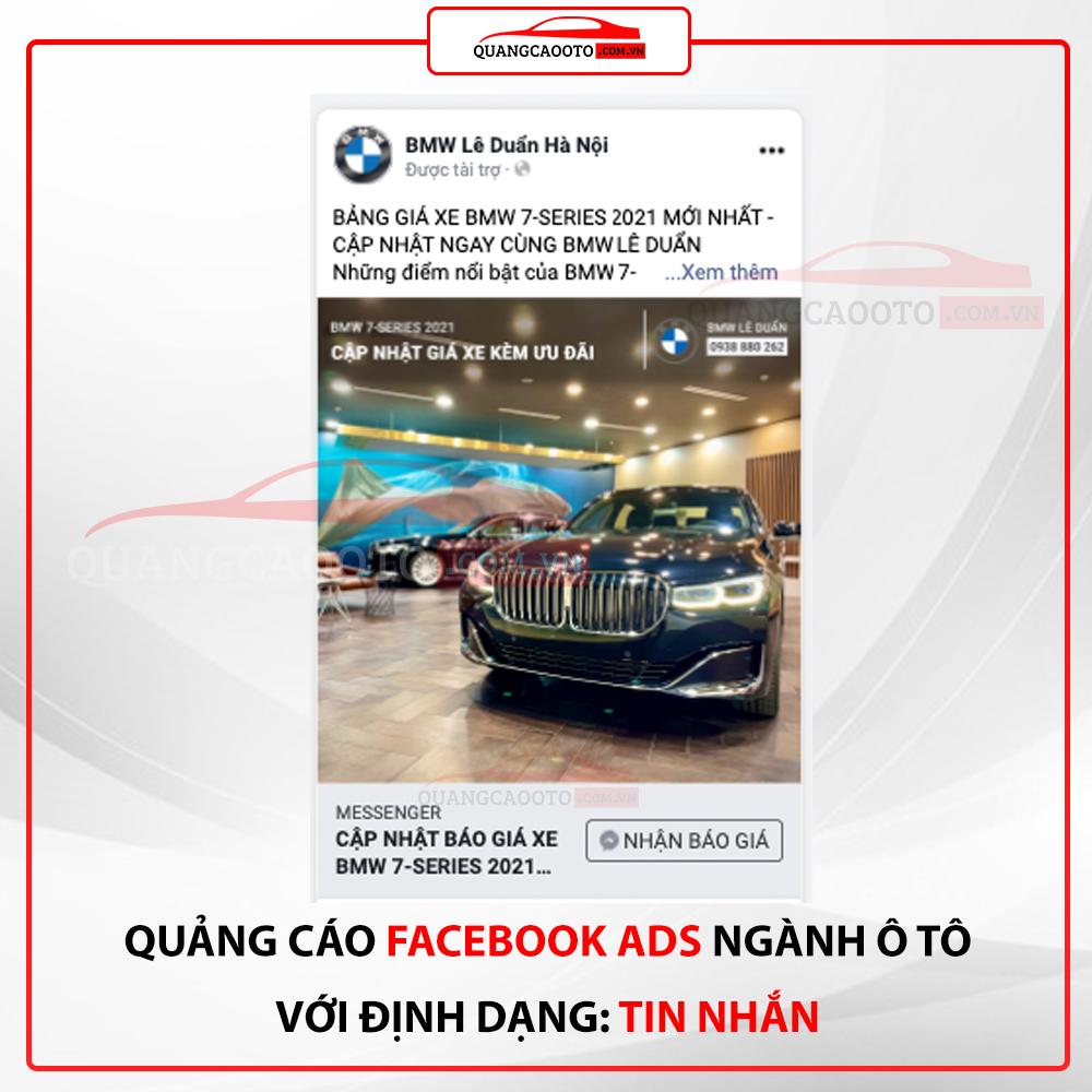 Quang cao facebook ads nganh o to dinh dang tin nhan