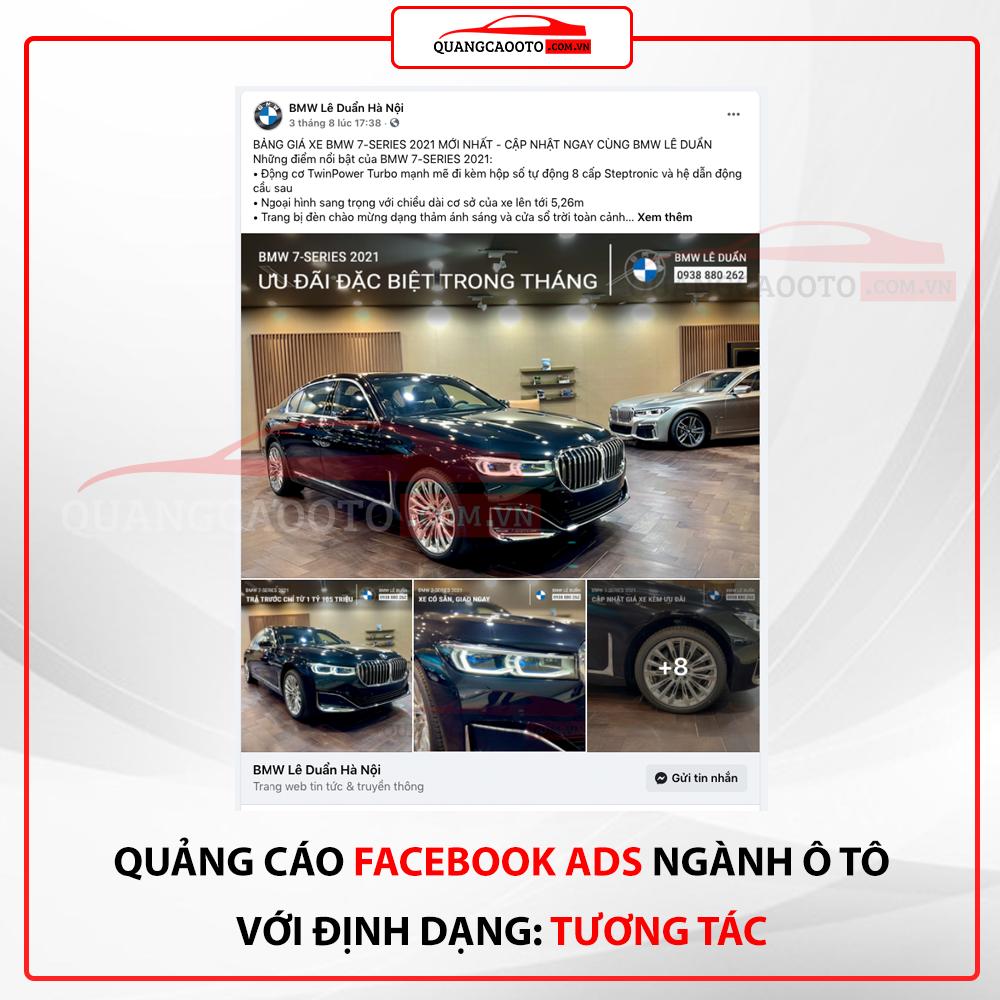 Quang cao facebook ads nganh o to dinh dang tuong tac